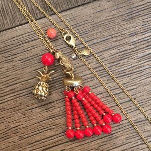 Ann Taylor Beaded Tassel Necklace Monkey Pineapple